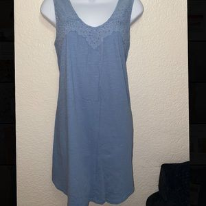Lucky Brand Blue Embroidered Dress